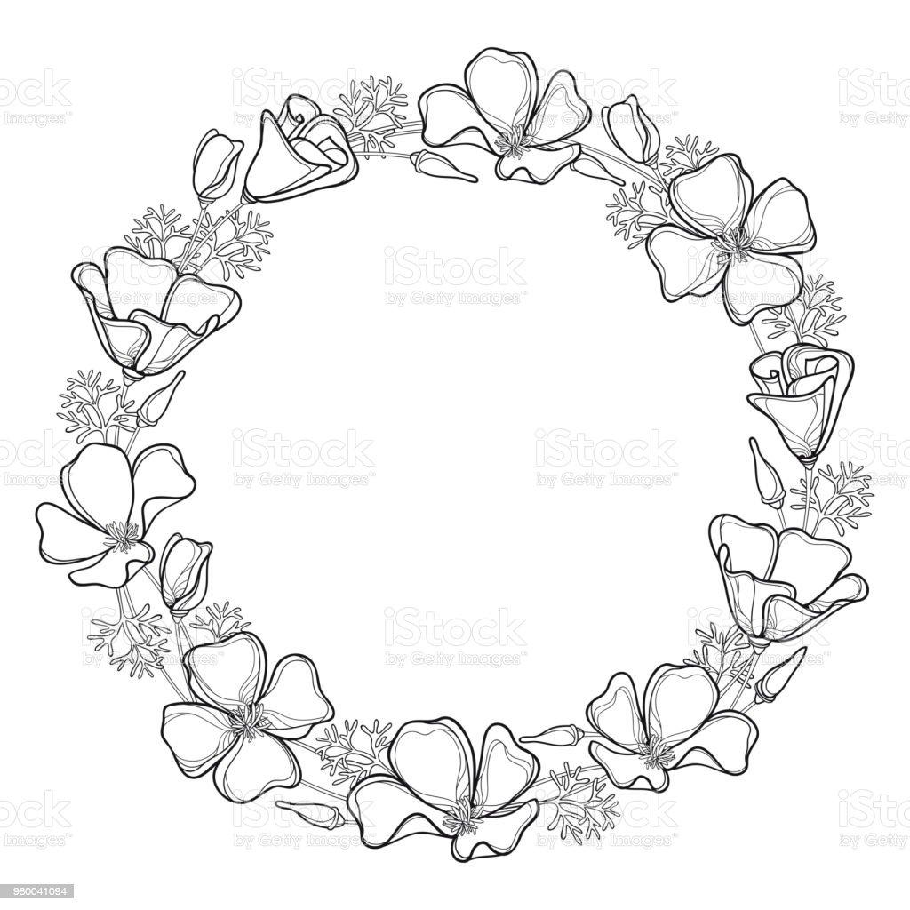 Vector Round Wreath Of Outline California Poppy Flower Or