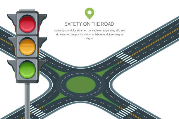illustrations, cliparts, dessins animés et icônes de rond point de carrefour vector et feu isolé sur fond blanc. trafic routier de sécurité et de transport. - rond point