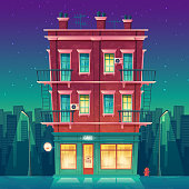 Vector round-the-clock cafe in residential multi-storey apartment at night, day-and-night restaurant inside the private building concept. Modern architecture in cartoon style