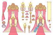 vector royal chair, princess throne