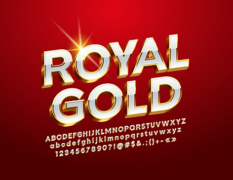 Vector Royal Gold Alphabet Letters, Numbers and Symbol