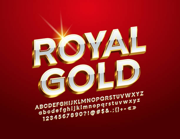 Vector Royal Gold Alphabet Letters, Numbers and Symbol 3D Luxury Font three dimensional stock illustrations