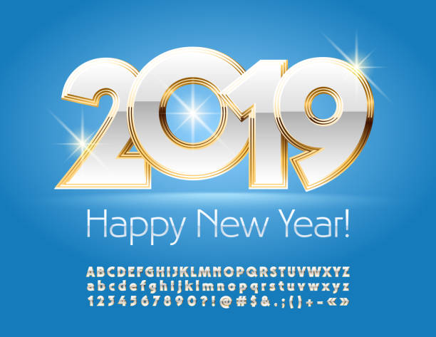 vector royal gold and white greeting card happy new year 2019 with alphabet vector art illustration