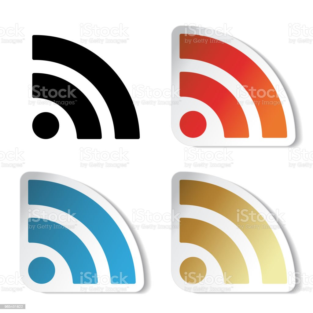 Vector rss stickers, wifi icon isolated on white background. Symbol for business or commercial use. Network connection   button, label royalty-free vector rss stickers wifi icon isolated on white background symbol for business or commercial use network connection button label stock vector art & more images of black color