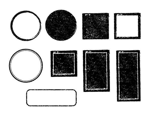 wektor guma znaczek szablon szablonu zestaw ilustracji (bez tekstu / przestrzeni tekstowej) / kolor czarny - pieczęć znaczek stock illustrations