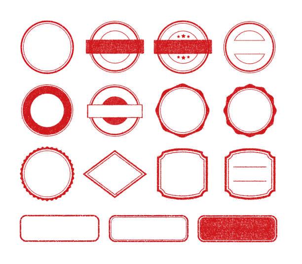 Vector rubber stamp template illustration set (no text/ text space) vector art illustration