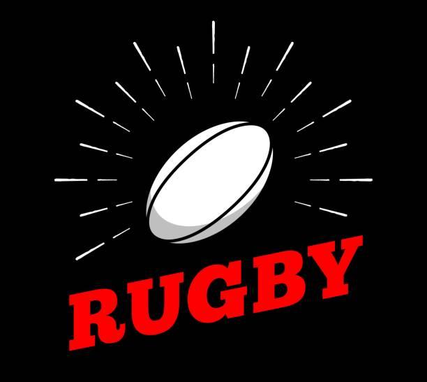 illustrations, cliparts, dessins animés et icônes de vector rugby sport ballon symbole icône soleil burtst impression dessinés à la main ligne vintage art design - rugby