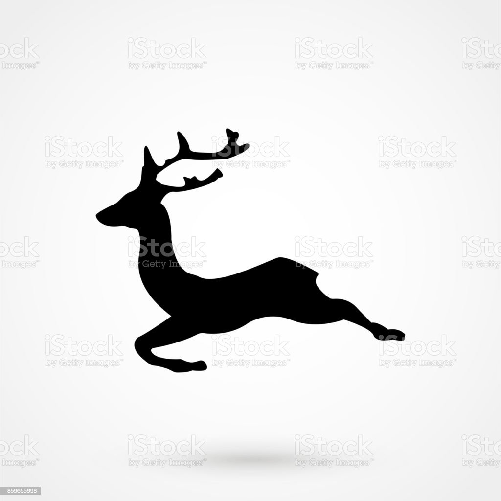 vector running deer silhouette icon royalty free stock vector art