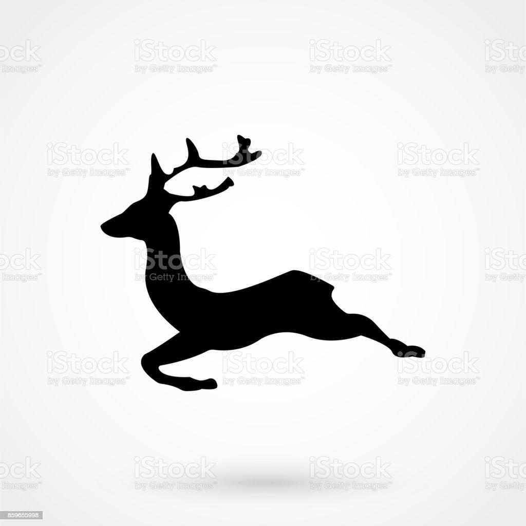 vector running deer silhouette icon royalty free stock vector art