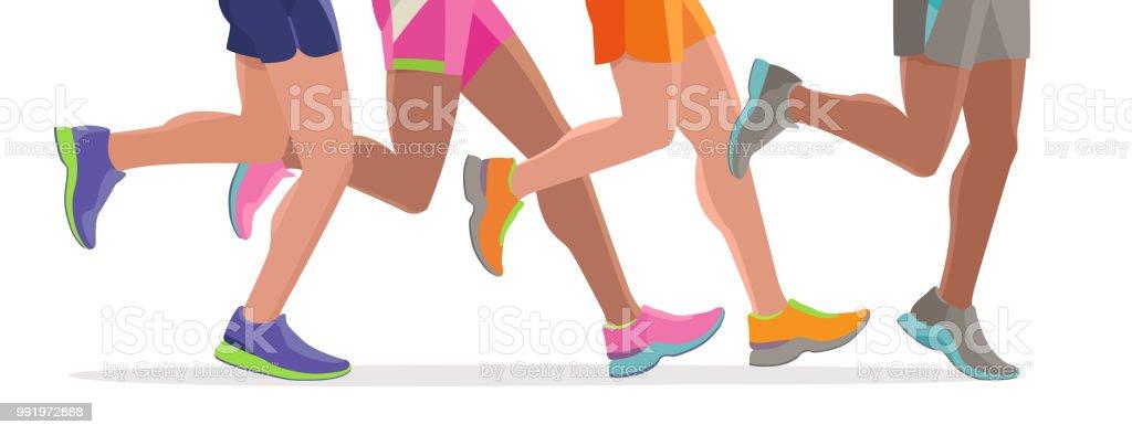 vector running feet of a massive marathon run start silhouette