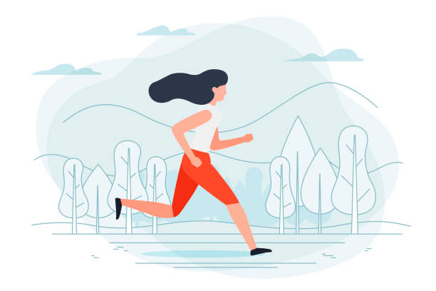 stockillustraties, clipart, cartoons en iconen met vector - lopende meisje. park, bos, bomen - alleen één vrouw