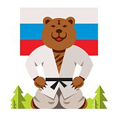 Vector Russian Bear Humor Concept. Flat style colorful Comic Cartoon