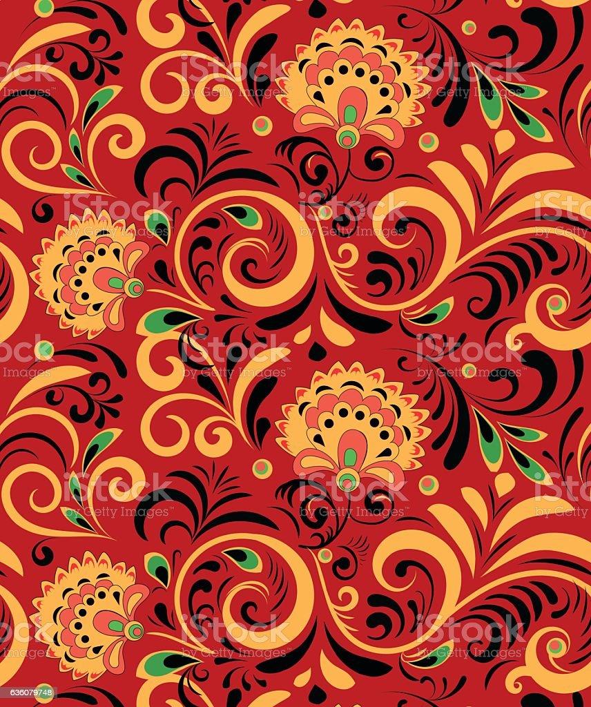 Ethnic National: Vector Russian Ethnic Ornament Khokhloma Seamless Pattern