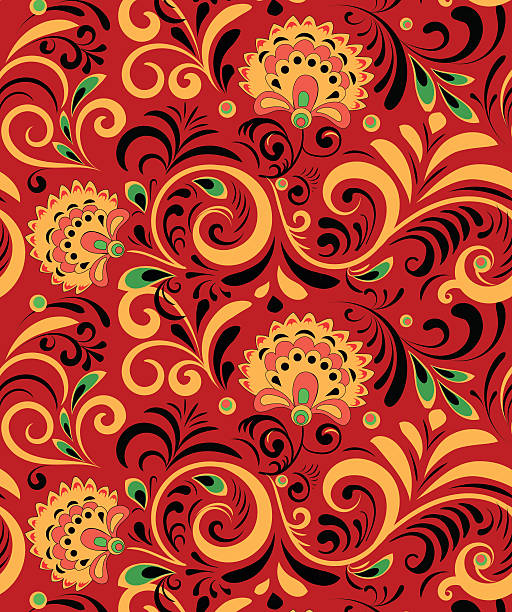 ilustraciones, imágenes clip art, dibujos animados e iconos de stock de vector russian ethnic ornament .khokhloma seamless pattern in national style - rusia