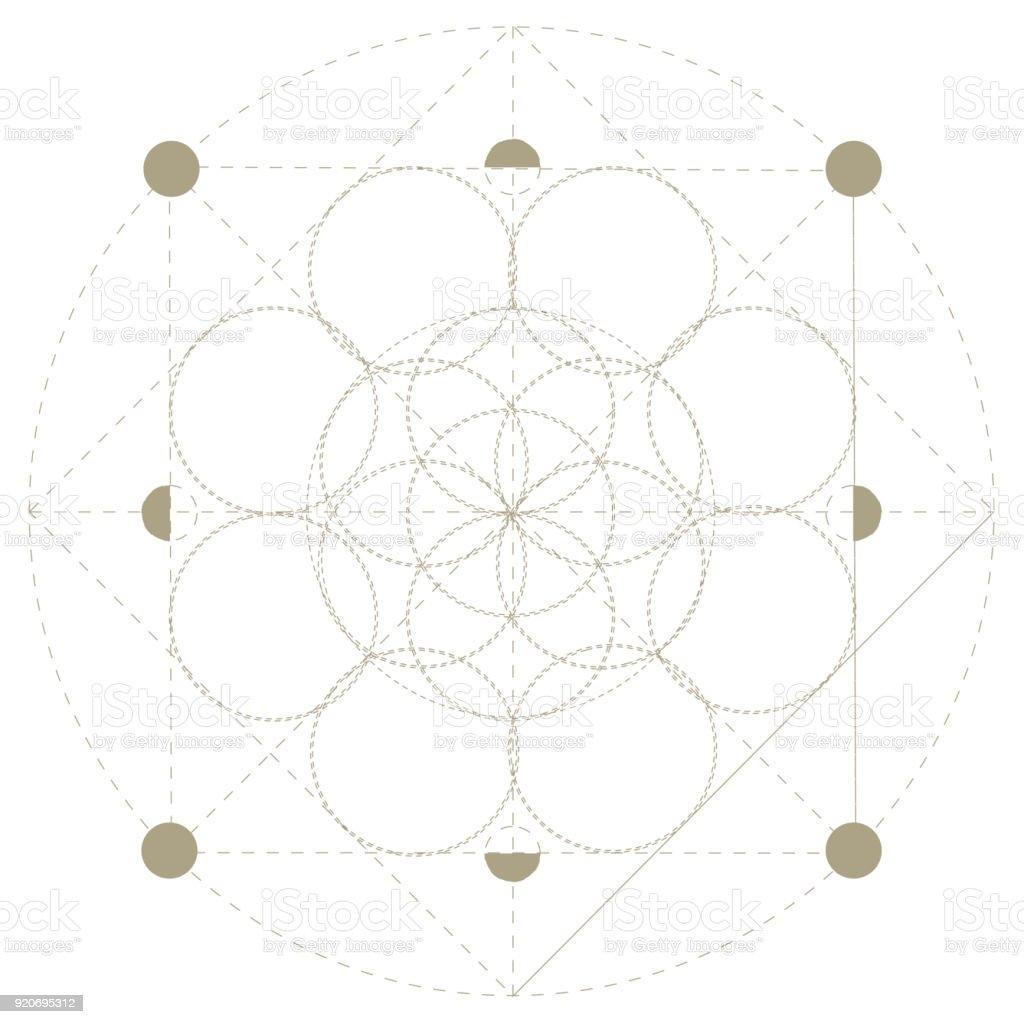 Vektor-Heilige Geometrie-Symbol: Samen des Lebens, der Vorläufer der Blume des Lebens oder die Muster der Schöpfung. Der Samen des Lebens Vorahnung Muster des Lebens von der große Schöpfer, als Architekt bekannt. – Vektorgrafik