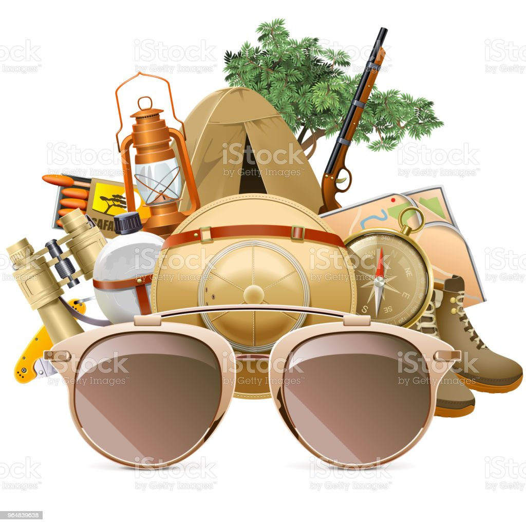 Vector Safari Concept with Sun Glasses royalty-free vector safari concept with sun glasses stock illustration - download image now
