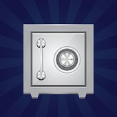Vector illustration of a steel safe. Simple flat illustration of a vault door made by metal (or iron). Protection and securty concept.