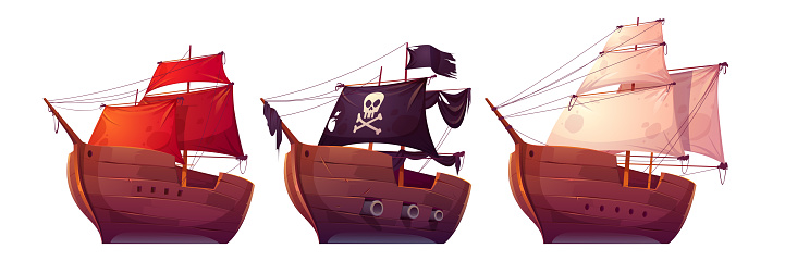 Vector sail boats with white, red and black sails