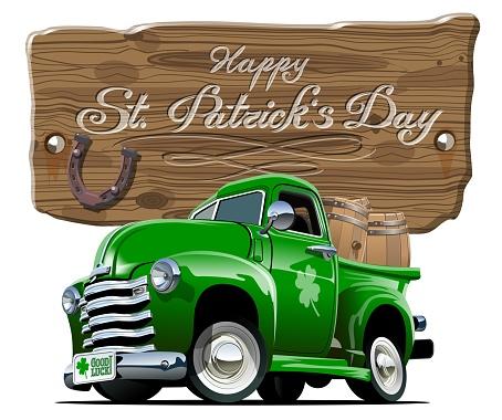 Vector Saint Patrick's retro cartoon beer pick-up