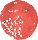 vector sakura blossoms on watercolor paint
