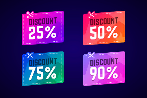 Vector sale coupons with scissors.