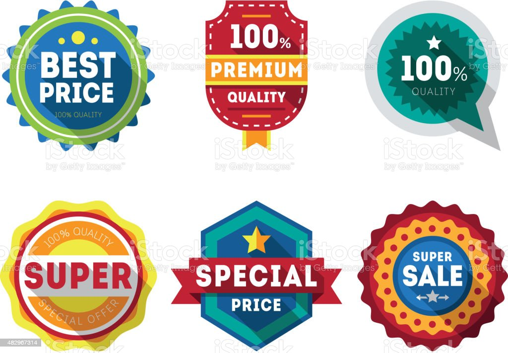 Vector sale labels and ribbons set design elements Premium quality vector art illustration