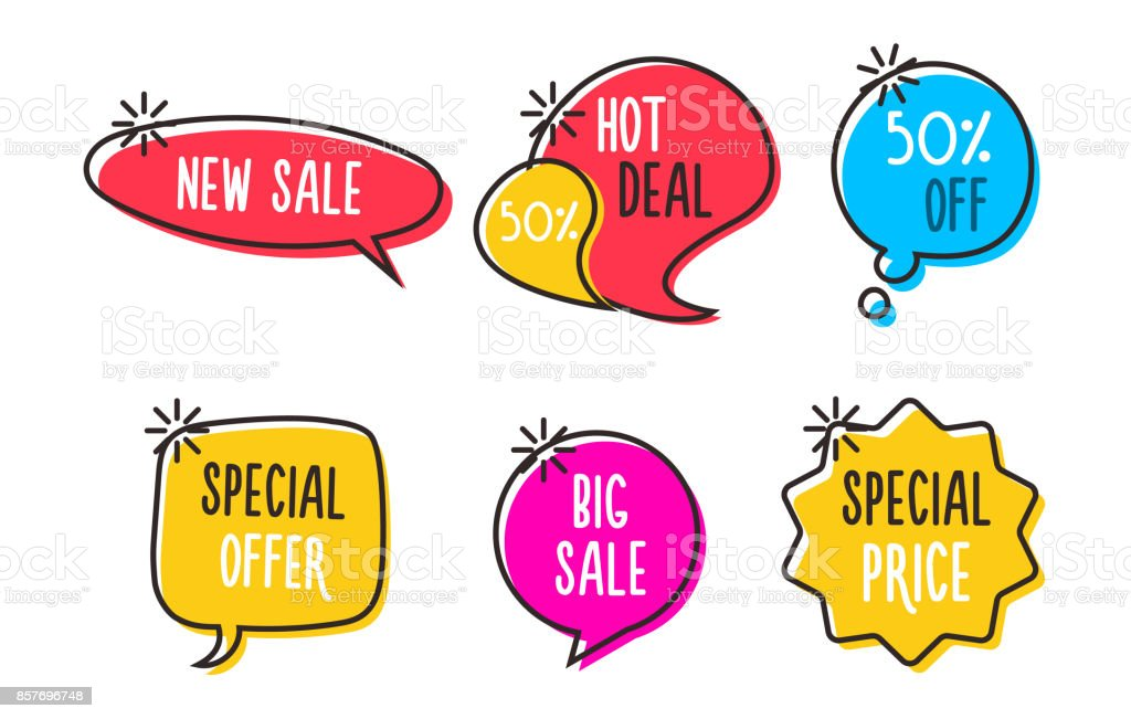 Vector sale labels, tags, speech bubbles, banners, logos, icons. Hand drawn doodle vector design vector art illustration