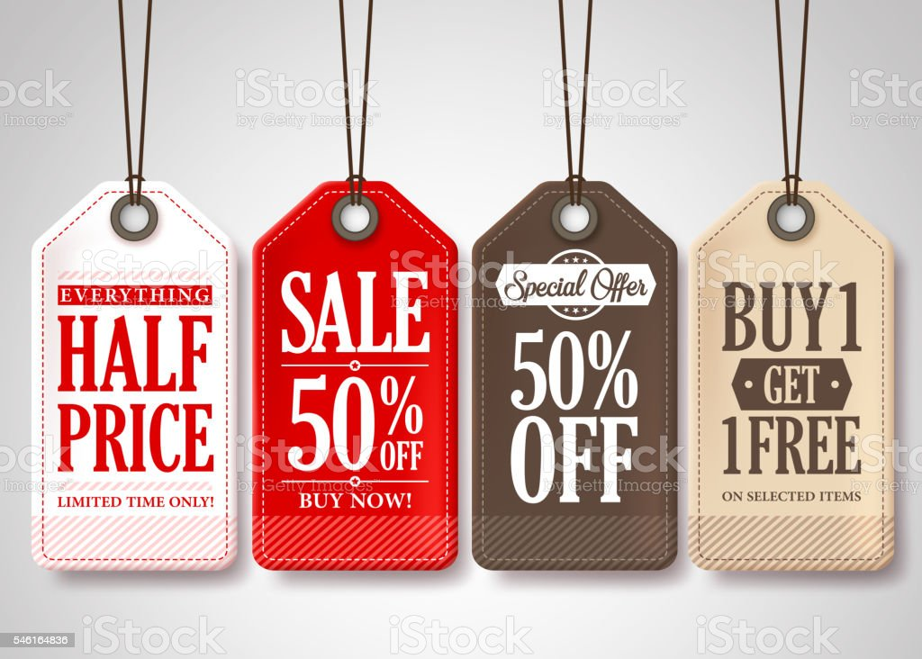 Vector Sale Tags Design Collection Hanging with Different Colors vector art illustration
