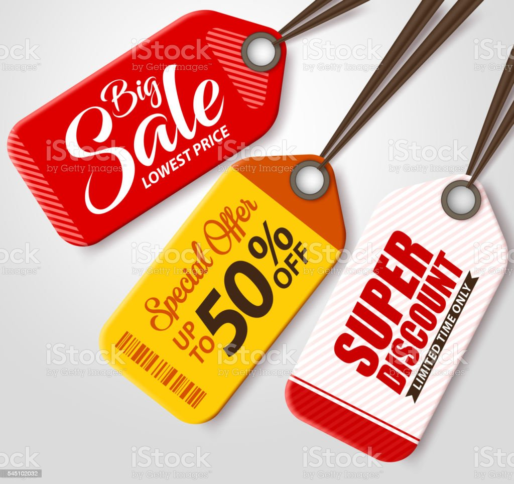 Vector Sale Tags Set with Different Colors Hanging vector art illustration