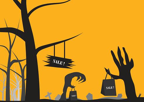 Vector : Sale3 concept in halloween background