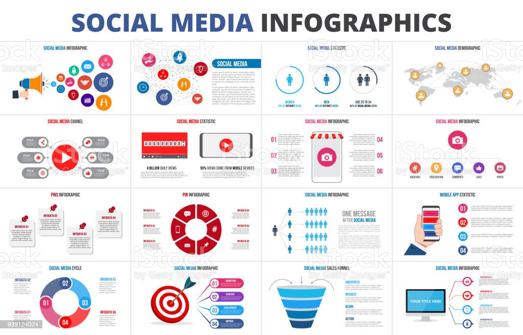 Vector sales funnel, statistic, map, online video chanel and pins. Social media infographic set. Presentation slides.