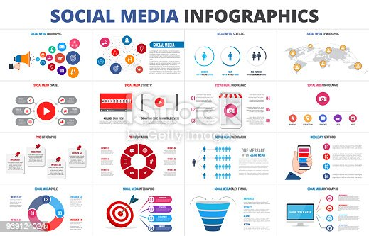 istock Vector sales funnel, statistic, map, online video chanel and pins. Social media infographic set. Presentation slides. 939124024