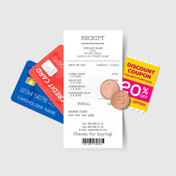 vector sales printed receipt with credit card, discount coupon and coins. bill atm template, cafe or restaurant paper, financial check. vector illustration - dollar bill stock illustrations