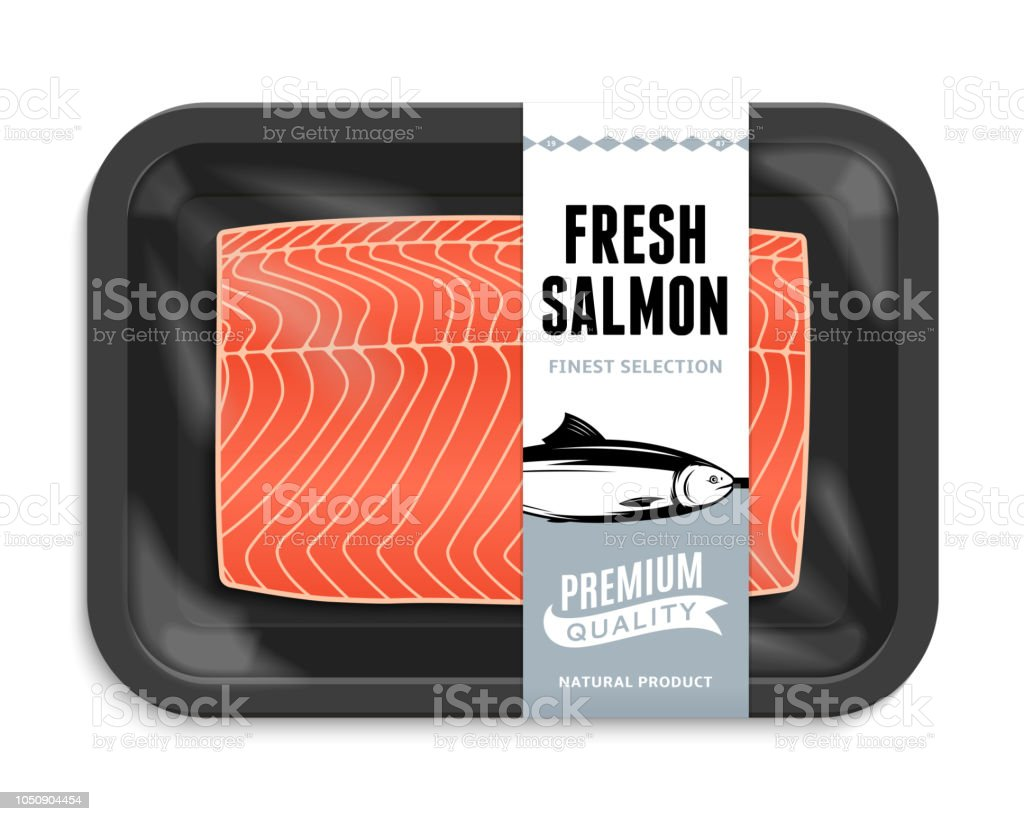Ilustración de vector packaging salmón - ilustración de arte vectorial