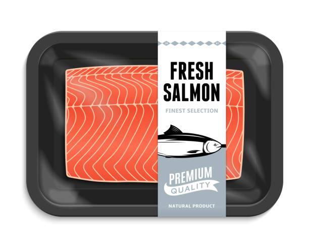 ilustraciones, imágenes clip art, dibujos animados e iconos de stock de ilustración de vector packaging salmón - comida cruda