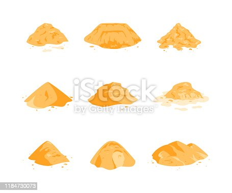 Sand piles set isolated on a white background. Yellow dune in a desert, on a beach, at a construction site or playground. Vector illustration in flat style.