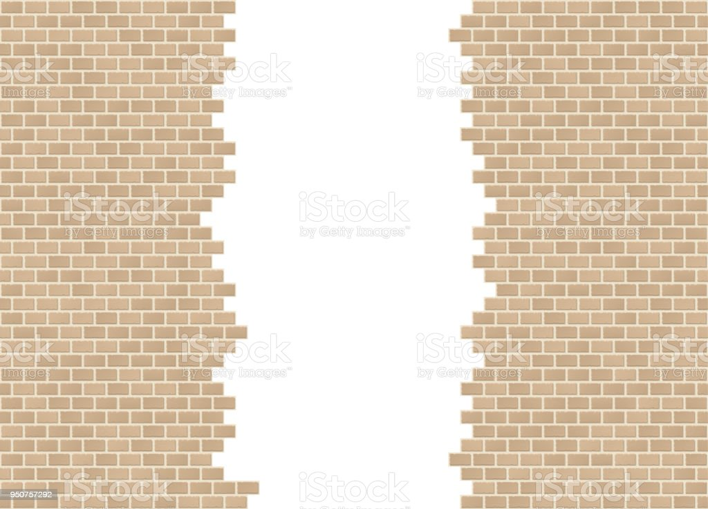 Vector Sandstone Torn In Half Brick Wall Background With Big Hole Stock Illustration Download Image Now Istock
