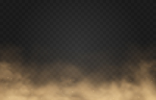 Vector sandy dust cloud. Clouds with dust particles. Sandstorm on an isolated transparent background. PNG.