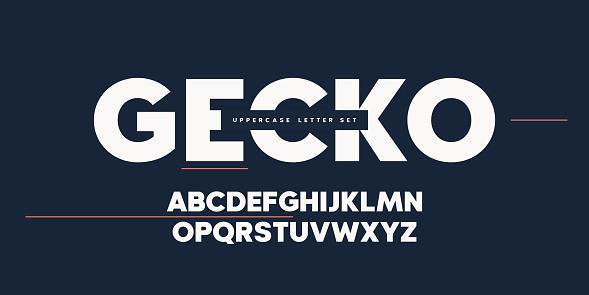Vector sans serif uppercase letter set, alphabet, typography.