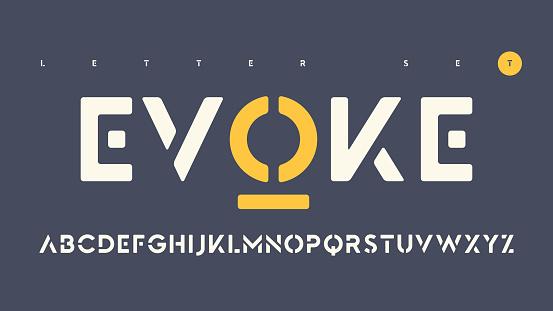 Vector sans serif urban stencil rounded letter set, cropped alphabet