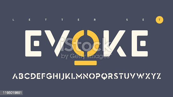 Vector sans serif urban stencil rounded letter set, cropped alphabet.
