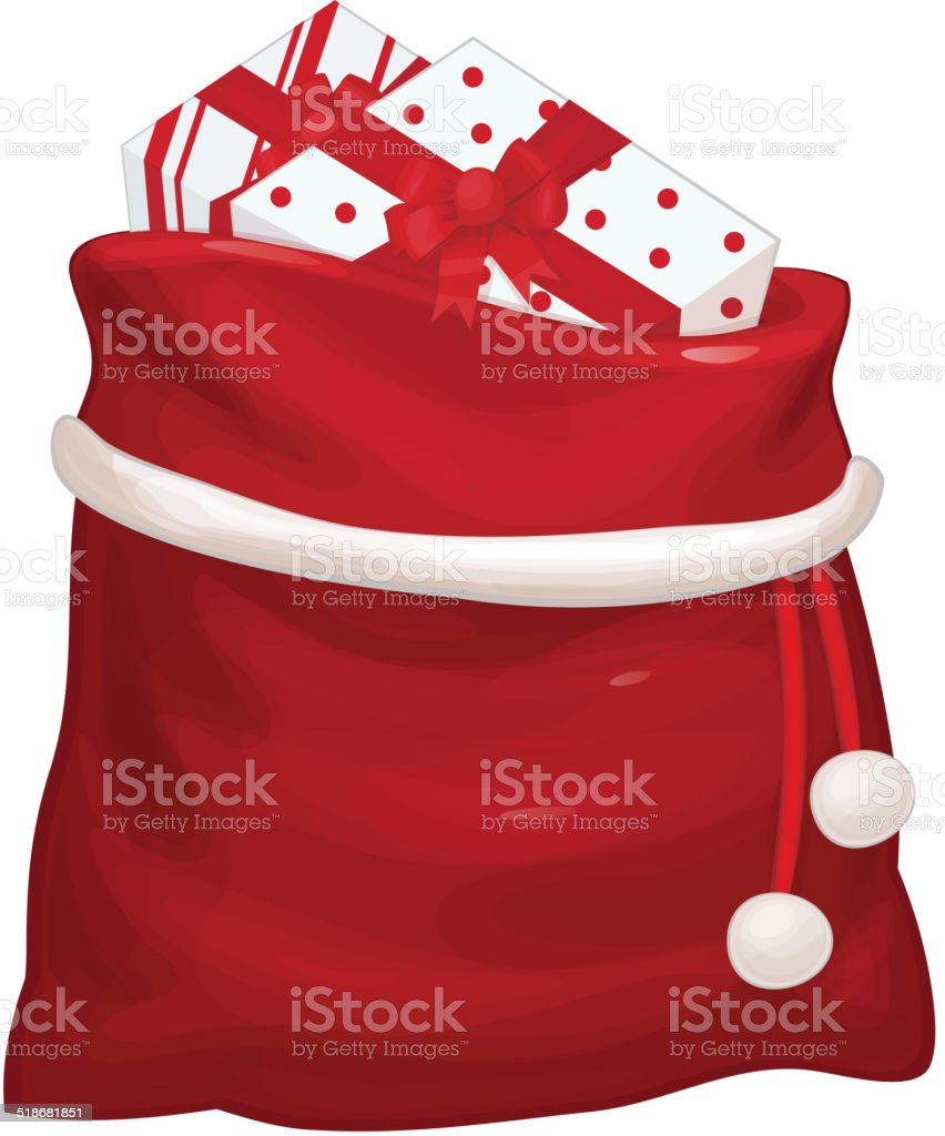 Vector Santa Claus bag with gifts isolated. vector art illustration
