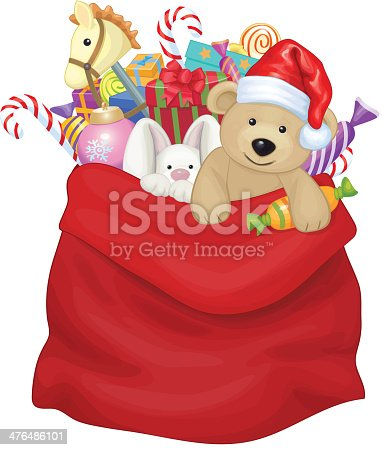 istock Vector Santa Claus bag with toys and gifts. 476486101
