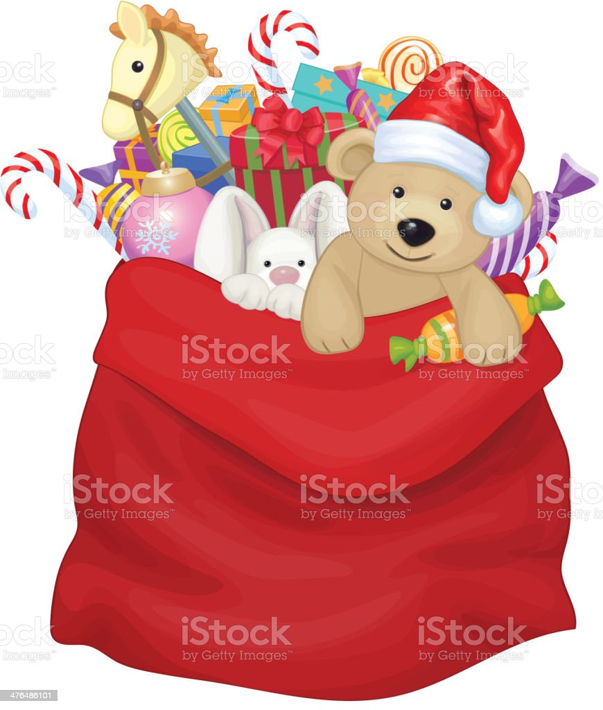 Vector Santa Claus bag with toys and gifts. vector art illustration