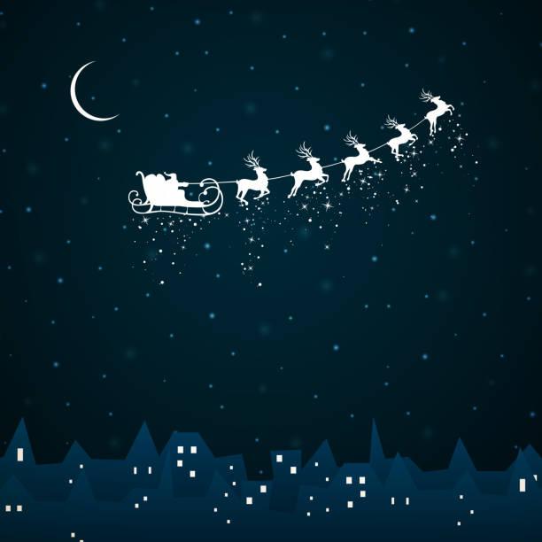 Vector Santa Claus coming to City vector art illustration