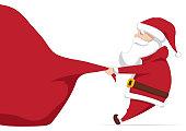 Vector illustration: Santa Claus pulls a heavy bag full of gifts. Cartoon scene. Merry Christmas.