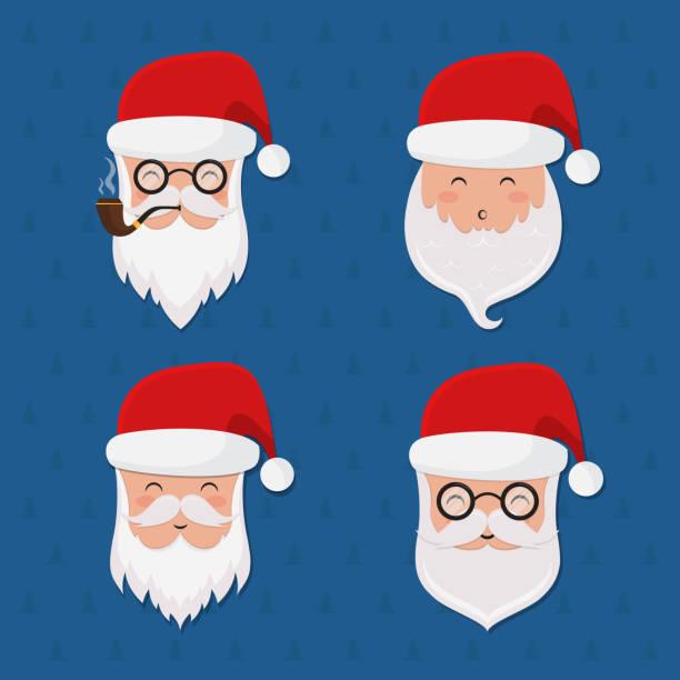 vector santa claus set - secret santa messages stock illustrations