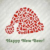 Vector Santa hat christmas beer poster. Happy new beer tagline. Santa hat composed of craft beer bottles, mugs, glasses, ingredients and accessories. Retro grunge new year background