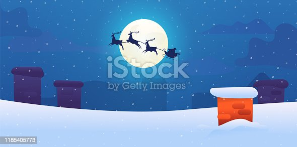 istock Vector santa sled with flying reindeers snow roof 1185405773