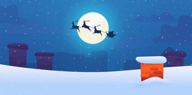 Vector santa sled with flying reindeers snow roof Santa sled with flying reindeers silhouette on background of night winter city roof at night with snowy chimney on background of full moon and snow. Christmas, new year vector background. sled stock illustrations